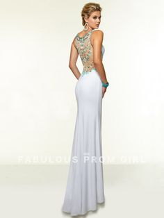 Sheath / Column Beading Satin Prom Dresses / Evening Dresses - FabulousPromGirl.com