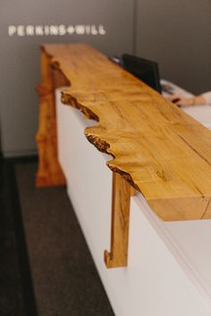natural edge reception desk | Skylar Morgan Furniture + Design