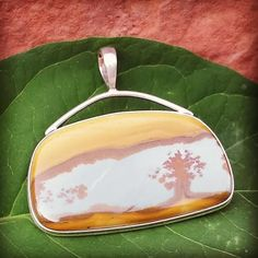 Scenic Oregon Owyhee Jasper Pendant in a Sterling Silver Open Back Setting