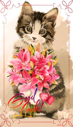 Nurcan Kacira - Cats and Dogs House I Love Cats, Cute Cats, Animals And Pets, Cute Animals, Cat Cards, Vintage Cat, Cat Drawing, Cats And Kittens, Dog Cat