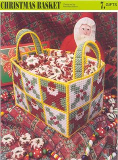 Plastic Canvas Bear Free Patterens | CHRISTMAS BASKET plastic canvas pattern by puddinpop on Etsy