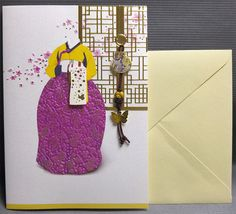 Korean Traditional Designed Card - Korean Traditional Cloth Hanbok 7 by lovingpaper on Etsy