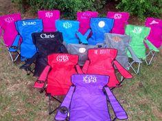 Monogrammed Folding Chair, Beach Chair, Lawn Chair, Bag Chair, Stadium Chair, Captain's Chair,  Camping Chair, Tailgating Chair, Yard chair by KidsKuteKreations on Etsy https://www.etsy.com/listing/238242557/monogrammed-folding-chair-beach-chair