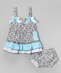 Love this Blue Zebra Ruffle Swing Top & Bloomers - Infant, Toddler & Girls by Wenchoice on #zulily! #zulilyfinds