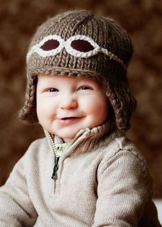 """New Knit Cap line at Therese Chateau """"Wilbur"""" Aviator Hat with Goggles Knitting For Kids, Knitting Projects, Baby Knitting, Crochet Baby, Knit Crochet, Knitted Hats Kids, Beginner Knitting, Cute Winter Outfits, Kids Outfits"""