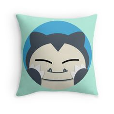 PERFECT GIFT FOR POKEMON FANS   HAPPY SNORLAX (POKEMON) THROW PILLOW  Available as t-shirts, iphone cases, stickers, samsung cases, home decors, tote bags, prints, cards and laptop skins  #pokemon #snorlax