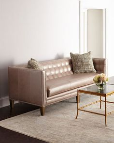 Rosalind Leather Sofa by Massoud at Neiman Marcus.
