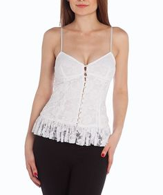 SEXY WHITE LACE TOP LACE LINED BUTTON-UP RUFFLE BUSTIER STYLE CLEAVAGE TOP NWTS #SOLUTIONS #TankCami #Clubwear