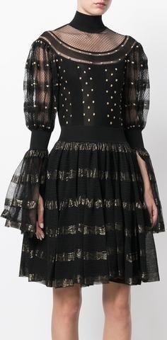 Black High Neck Embroidered Detail Dress