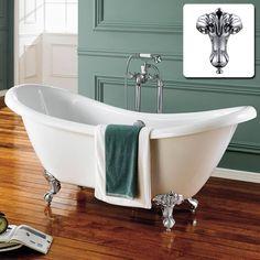 What says traditional bath style better than a roll top bath? A roll top bath with shower? Or a roll top bath with shower screen? Traditional Bathtubs, Traditional Bathroom, Bath Ball, Slipper Bath, Roll Top Bath, Standing Shower, Bathroom Styling, Free Standing Bath, Victorian Bath