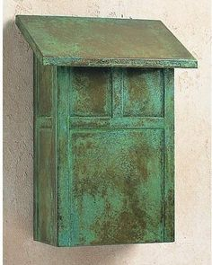Arroyo Craftsman Mission Wall Mounted Mailbox with Rain Overhang Finish: Verdigris Patina, Overlay: Copper Mailbox, Antique Mailbox, Vintage Mailbox, Vintage Box, Wooden Mailbox, Vintage Decor, Wall Mount Mailbox, Mounted Mailbox, Craftsman Mailboxes
