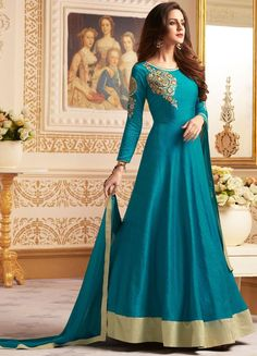 Fabulous Teal Blue Readymade Anarkali Suit