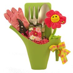 Gardening Gift Basket, use $1 watering can from Ikea