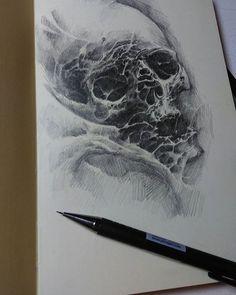 WEBSTA @ roman_hide - Для разминки ) Speed skull) #sketch #skull #moleskine #sketchbook #organica #dark #horror