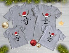 Christmas Monogram Shirts, Personalized Monogram Matching Christmas T-Shirts, Monogram Christmas, Family Matching Pajamas, Monogram Tee Xmas Pjs, Matching Christmas Pajamas, Christmas Pjs, Matching Pajamas, Christmas Monogram Shirt, Christmas Tee Shirts, Monogram Shirts, Christmas Clothing, Monogrammed Pajamas