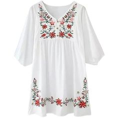 Azbro Women's Embroidery Floral Peasant Dress ($20) ❤ liked on Polyvore