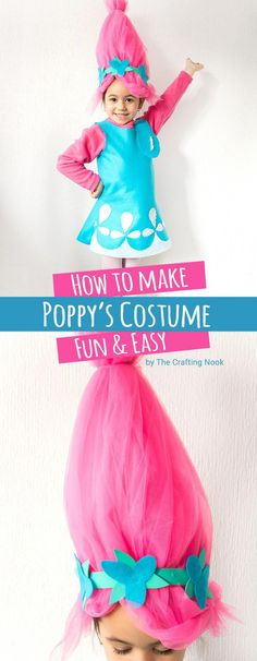This Poppy Troll Costume Tutorialwill make your little troll the hit of the party. You can have this Poppy Troll costume done in about 2 to 3 hours and you don't need to be a pro to make it. Also, you don't need a pattern and will fit any size. Cool right? #halloweencostume ##poppytroll #poppytrollcostume #halloweenparty #halloweenfun #halloweencraft #diycostume #costumes