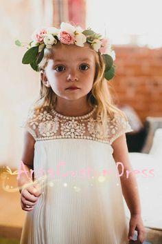Beaded Knee-length Ivory Pleated Chiffon Flower Girl Dress