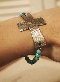 Cross and bead bracelet