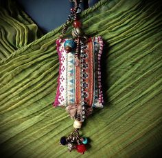 Bohemian gypsy vintage hmong textile necklace with bead by quisnam