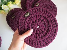 Knit Basket, Chunky Crochet, Big Project, Burgundy Color, Knitting Yarn, Coaster Set, Mother Gifts, House Warming, Etsy Shop