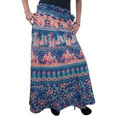 Mogulinterior Womens Long Ethnic Printed Cotton Hippy Wrap Around Skirt Open Waist Skirts