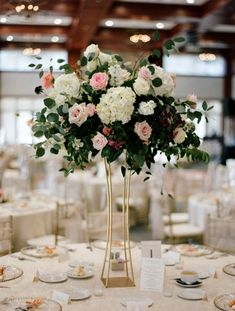 Tall Hydrangea and rose wedding centerpiece \/\/ gold modern vase boho industrial loft wedding