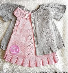 # guotation # amigurumi # weave, - The Notebook Baby Girl Sweaters, Knitted Baby Clothes, Knit Baby Dress, Baby Cardigan, Baby Knitting Patterns, Baby Patterns, Diy Crafts Dress, Diy Crafts Knitting, Baby Overalls