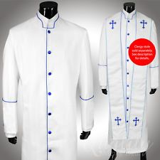 Clergy Robe Solid White Blue Piping Cassock Full Length Preacher Retail $200