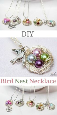 Use our simple step by step tutorial shows you how to make a beautiful handmade DIY birds nest necklace that looks absolutely stunning. This simple jewelry making project is simple for beginners and only takes about 30 minutes. Kumihimo Bracelet, Diy Bracelet, Bracelet Charms, Collar Diy, Beaded Jewelry, Handmade Jewelry, Handmade Bracelets, Silver Jewelry, Jewelry Necklaces