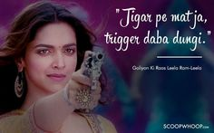 Unforgettable Dialogues That Define Deepika Padukone's Memorable Journey In Bollywood Best Movie Dialogues, Famous Dialogues, Funny Dialogues, Dialogue Images, Bollywood Love Quotes, Filmy Quotes, Cheesy Quotes, Deepika Padukone Style, Inspirational Movies