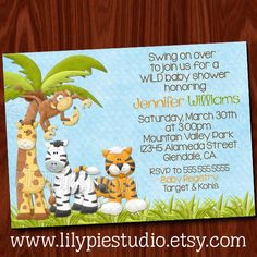 King of the Jungle Baby Shower Invitation by LilyPieStudio on Etsy