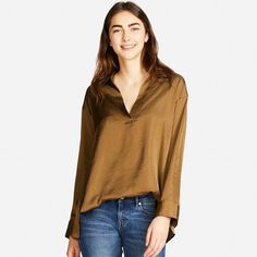 WOMEN Satin Long Sleeve Blouse