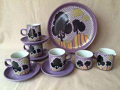 Gorgeous DENBY PURPLE TREES Coffee / Tea set 4 cups /sandwich plate/ jug&bowl