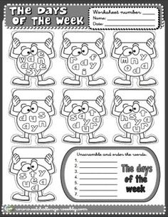 Days of the week worksheet English Day, Kids English, English Words, English Lessons, English Grammar, Teaching English, Learn English, English Primary School, English Classroom