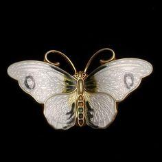 Butterfly Pin Vintage Enamel Sterling Silver Hroar Prydz Norway