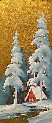 #557 60s Mid Century Church in the Snow-Vintage Christmas Card-Greeting