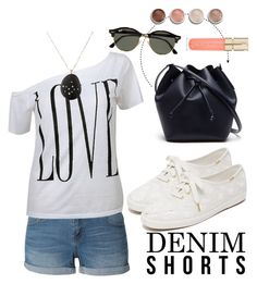 """Out for a walk"" by kiwipenguin on Polyvore featuring LE3NO, Kate Spade, Lacoste, Terre Mère, Smith & Cult, Ray-Ban, Venyx, jeanshorts, denimshorts and cutoffs"