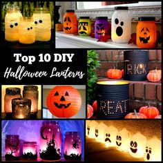 These awesome DIY Halloween lanterns are easy to make. They are a fun way to decorate your doorstep and windowsills for parties and Halloween night this fall. Most of them are upcycled crafts for both kids and adults. Milk jugs, coffee cans, paper, mason jars, and jars in the recycle bin can be used to create these fun Halloween luminaries. Try your hand at one of these ideas or find inspiration to create your own!