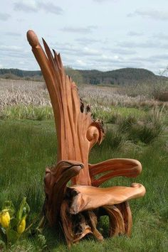 Driftwood art is so cool. I think this would look really cool in a wood cabin in the mountains. I think it would take a lot of time though but it would be worth it. There is detail in the chair which is really nice