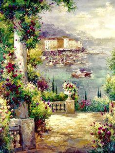 Peter Bell, 1969 - Impressionist Ocean garden | Masterpiece of Art