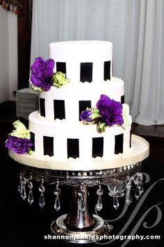 Nashville Garden Wedding Venue   CJ's Off the Square   Black Striped Wedding Cakes - Photo: Shannon Jenkins