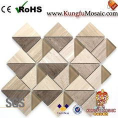 This wood marble mosaic in style. In addition, there with a beautiful triangle shape. Obviously, we can see there have coffee marble and light color marble. It is can be used for many projects too. Stone Mosaic Tile, Marble Mosaic, Mosaic Tiles, Triangle Shape, Travertine, Light Colors, Shapes, Wood, Projects