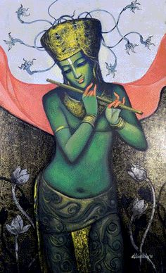 Dolna code: KIR009 Magic flute-7 by Kishore Roy. Acrylic on canvas, 40 x 30 (inches), Price INR 1,20,000