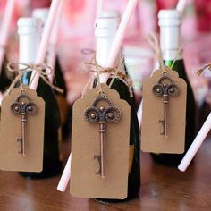 10Pcs/set Key Bottle Opener with Tag Card Wedding Favor