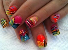 We did a variation of this on one of our staff, with just the ring finger all fancy and the other nails in colourful french. Crazy Nails, Funky Nails, Neon Nails, Love Nails, Pretty Nails, My Nails, Style Nails, Bright Nails, Rainbow Nails