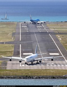 Two Airlines on Saint Maarten International Airport Runway (SXM) Saint Martin, Caribbean Island. Air Traffic Control, Commercial Aircraft, Civil Aviation, Air France, Air Travel, International Airport, Military Aircraft, Rotterdam, Airplanes