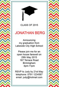 """Announce My Graduation""  printable invitation template. Customize, add text and photos. Print or download for free! #Invitation #Free #Graduation Party #Tamplate"