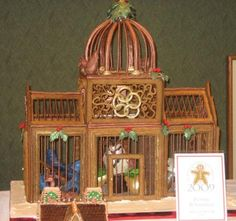 Birdcage Gingerbread House: Here's a beautiful bird cage.  This one was NOT a winner although the grand prize winner this year looked very similar (different artistic details of course).