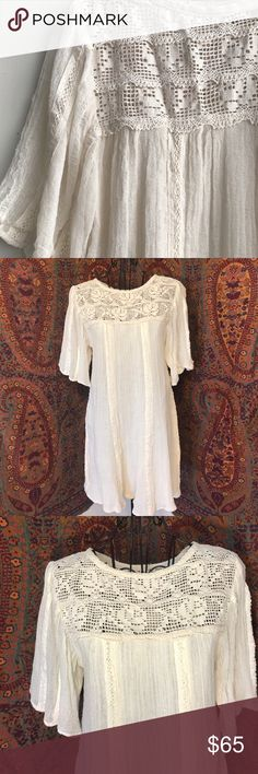 Sierra Leon Tunic by Jen's Pirate Booty Classic elegance! Sierra Leon Tunic by Jen's Pirate Booty. Beautiful open weave floral crochet design on top and back. Trim lining sleeves and front/back of Tunic. NWT size Small. Color is natural which is a cream white. Jen's Pirate Booty Dresses